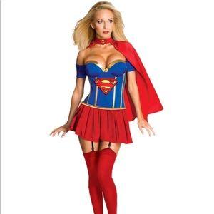 Supergirl Corset Fancy Dress Costume